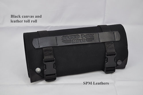 Black leather & canvas tool roll