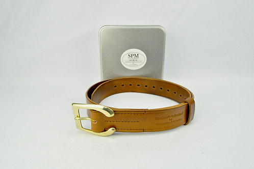 Brown leather horse shoe belt wide