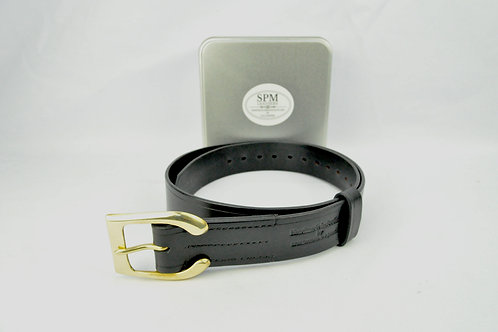 Black Leather Horse shoe belt wide