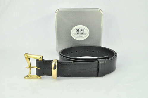 Black leather firman belt wide