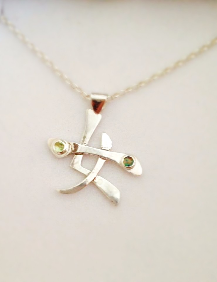 silver, opal and peridot necklace