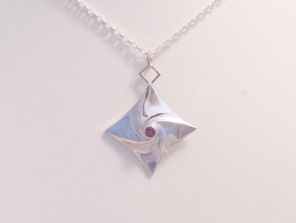 origami rose pendant