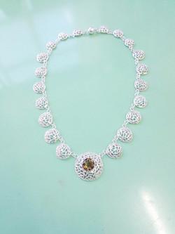 silver and smokey quartz necklace