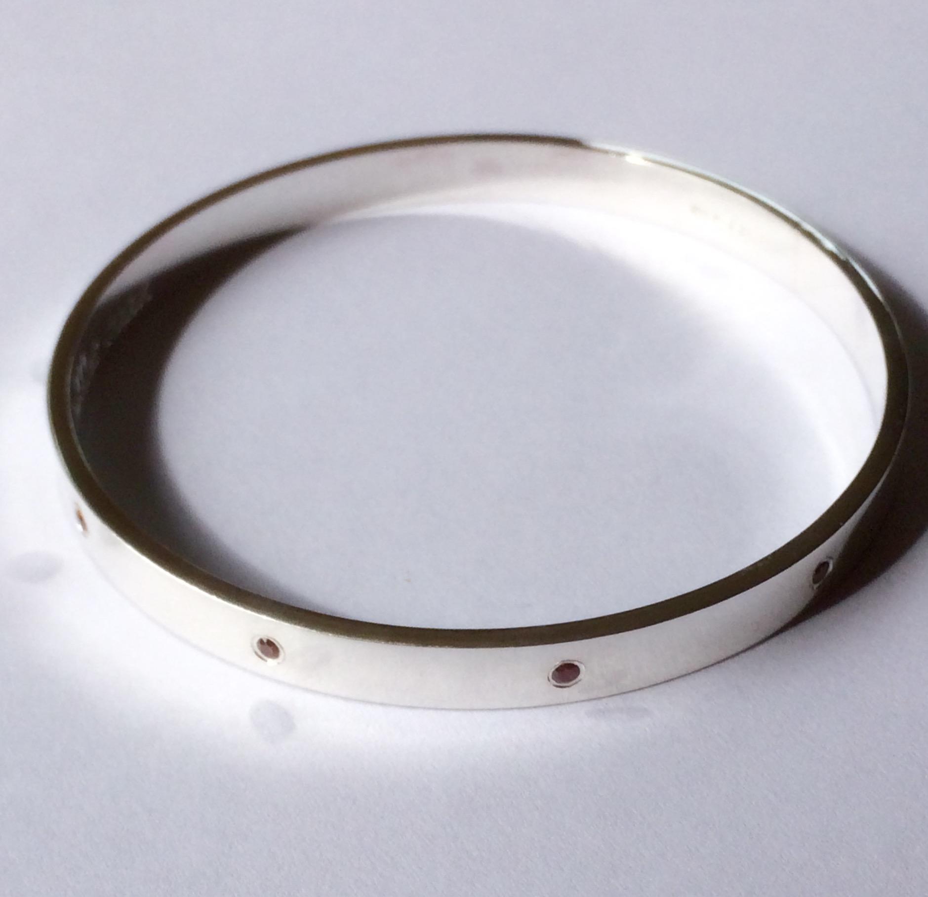 sterling silver and garnet bangle