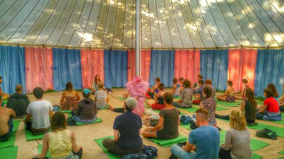 Teaching Meditation at Somersault Festival, Devon