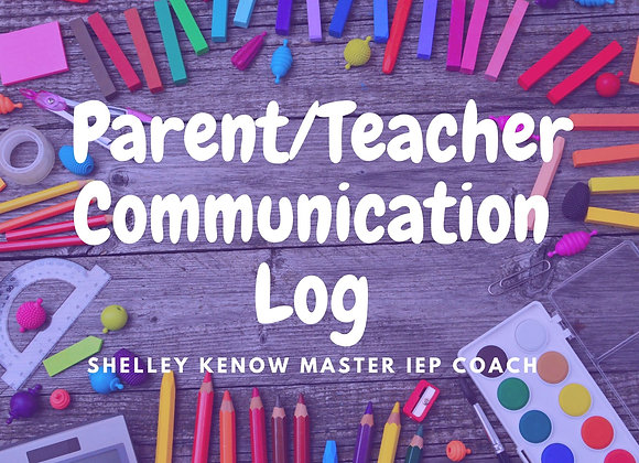 Positive Communication Log for Parents and Teachers