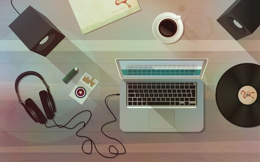 Vector illustration of a top desk view. Personal work.