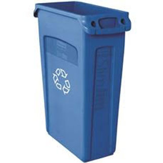 Rubbermaid Commercial Products Slim Jim 23 Gal. Blue Recycling Container with Ve