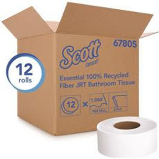 Scott 2-Ply White 1000 Jumbo Roll Commercial Toilet Paper (67805), 100% Recycled
