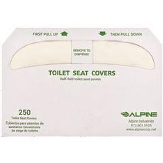 Alpine Industries White Flushable Disposable Half-Fold Toilet Seat Covers