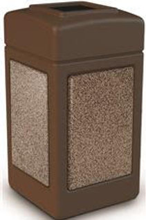 Commercial Zone® StoneTec 42 Gal. Brown/Riverstone Square Trash Can with Open T
