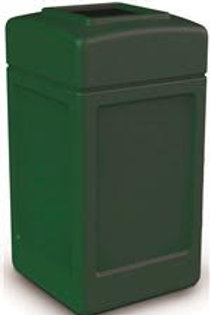 Commercial Zone® PolyTec 42 Gal. Forest Green Square Trash Can with Open Top Li