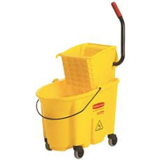 Rubbermaid Commercial Products Wave Brake 35 Qt. Yellow Side-Press Combo Mop Buc