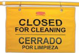 Rubbermaid Commercial Products Tri Safety Caution Sign - Closed for Cleaning