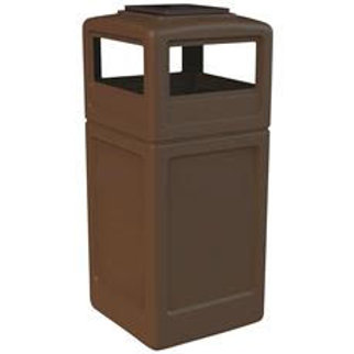 Commercial Zone® PolyTec 42 Gal. Brown Square Trash Can with Ashtray Lid