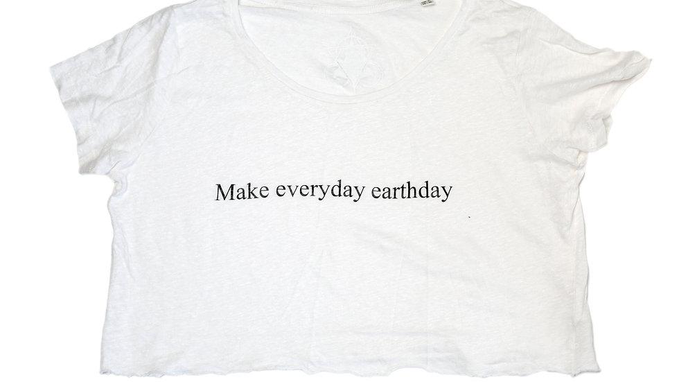 White Linen Cropped T-Shirt