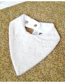 "Bavoir bandana crème ""Alba"""