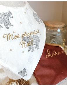 Bavoir bandana ours blanc