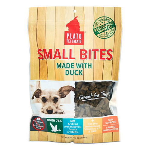 Plato Pet Treats Small Bites Duck 4 oz.