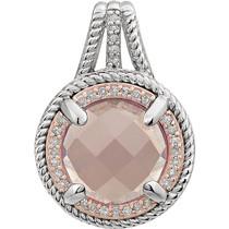 Round Rose Quartz and Diamond Pendant