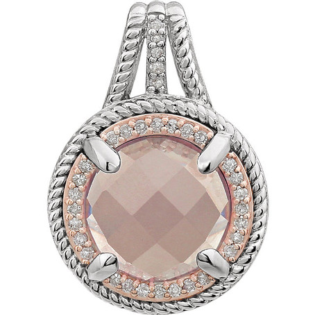 Round Rose Quartz and Diamond Pendant