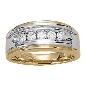 Two-Tone Ring with 5 Diamonds in Channel Setting