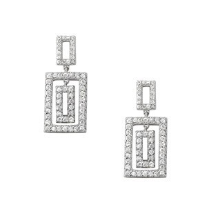 Diamond Rectangle Dangle Earrings