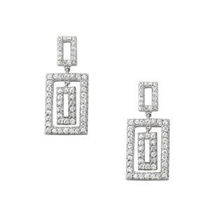 Diamond Rectangle Dangle Earrings