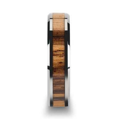 Tungsten Carbide Ring with Beveled Edges and Real Zebra Wood Inlay