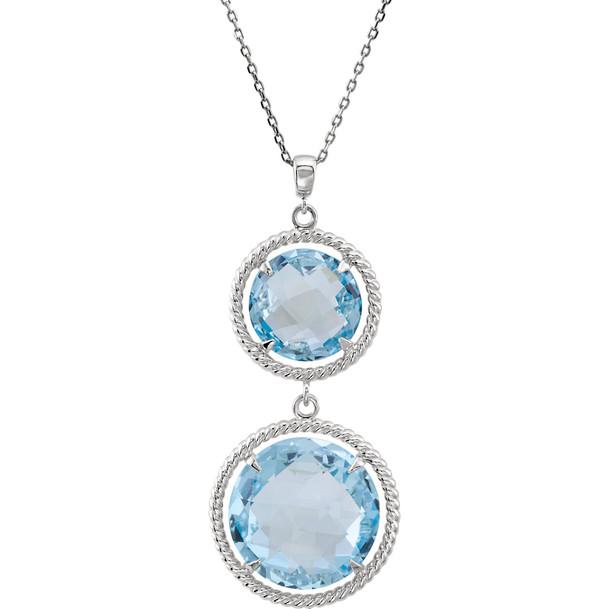 Round Blue Topaz Pendant