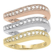 Tri-Colored Stackable Diamond Right Hand Rings