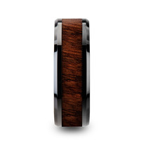 Carpathian Wood Inlaid Black Ceramic Ring with Bevels