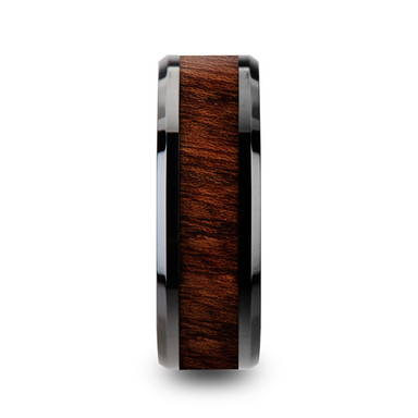 Carpathian Wood Inlaid Black Ceramic Ring with Bevels
