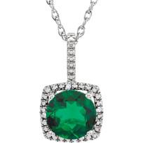 Round Emerald Diamond Halo Pendant