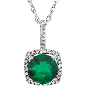 Round Emerald Diamond Halo Pendant