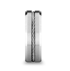Tungsten Flat Wedding Band with Steel Wire Cable Inlay & Beveled Edges