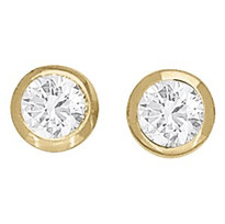 Yellow Gold Bezel Set Diamond Stud Earrings