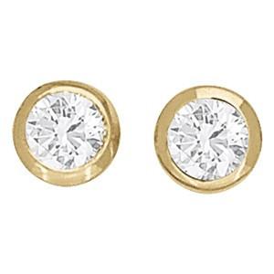 Yellow Gold Bezel Set Diamond Stud Earrings