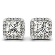 Princess Cut Diamond Halo Stud Earrings