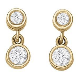 Yellow Gold Bezel Set Round Diamond Dangle Earrings