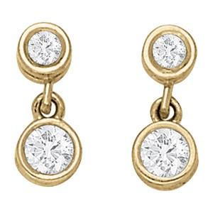 Yellow Gold Bezel Set Round Diamond Dangle Earrings