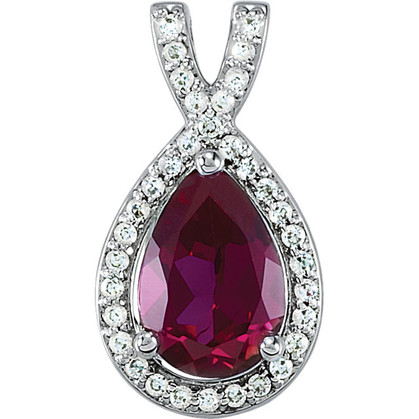 Diamond Halo Pear Shaped Ruby Pendant