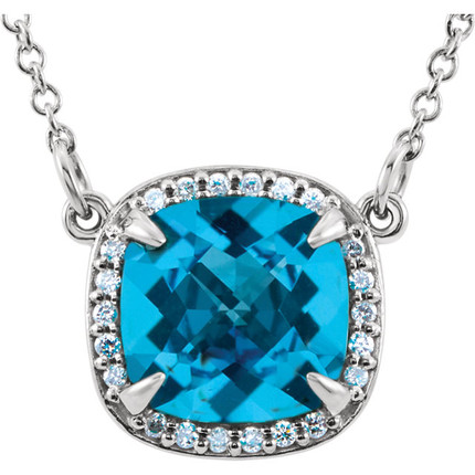 Aquamarine Diamond Halo Pendant