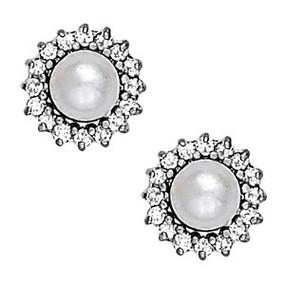 Pearl and Diamond Halo Stud Earrings
