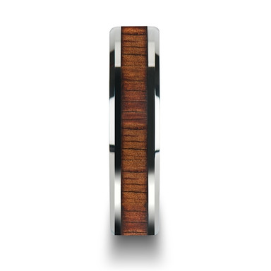 Koa Wood Inlaid Tungsten Carbide Ring with Bevels