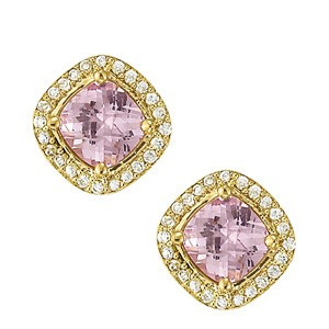 Yellow Gold Amethyst and Diamond Halo Earrings