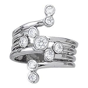 Scattered Bezel Set Diamond Right Hand Ring