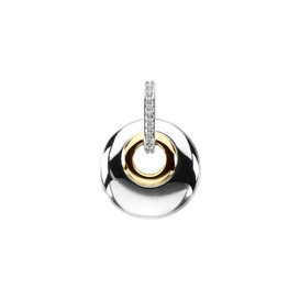 Diamond Two-Tone White Gold & Yellow Gold Circle Pendant