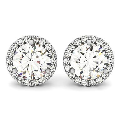 Round Diamond Halo Stud Earrings