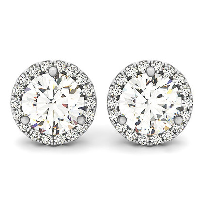 Round Diamond Halo Stud Earrings
